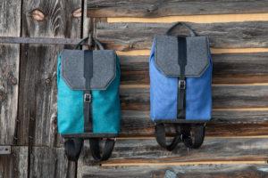 Flachswanderer Rucksack aus Flachsfaser und Schurwolle mit Pet-Upcycling Filz in alpengrün und lavendel